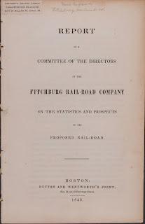 Fitchburg Railroad Company prospectus, 1842