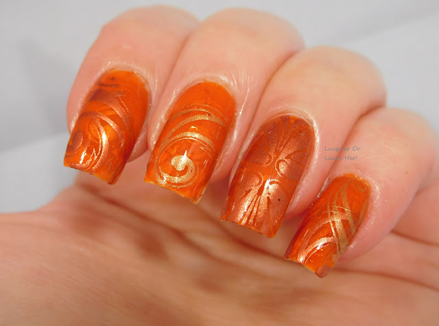 Ejiubas Celtic over Spellbound Nails Crookshanks, stamped with Girly Bits Bronze Goddess and Flame