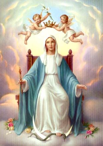 Dibujo de la Virgen María sentada en un trono