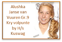 Alushka Janse van Vuuren, Gr.9 kry VOLPUNTE vir die aanbieding van haar redenaarstoespraak onder die ATKV se 2013 tema TAAL by Hoërskool Kuswag, KZN