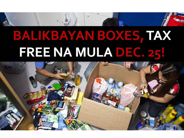 Starting Christmas Day or December 25 this year, Balikbayan boxes containing items worth up to P150,000 and below will be exempted from taxes.  This is after the Bureau of Customs and the Department of Finance have signed Customs Administrative Order (CAO) 05-2016, which concerns the consolidated shipment of said boxes.  CAO 05-2016 is the implementing rules and regulations of Section 800 (g) of the Customs and Modernization and Tariff Act (CMTA) that covers balikbayan boxes.