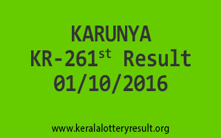 KARUNYA KR 261 Lottery Results 1-10-2016