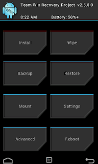Tampilan utama tool twrp android