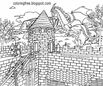 Old stronghold complex landscape prints medieval castle dragon flying coloring book pages for teens