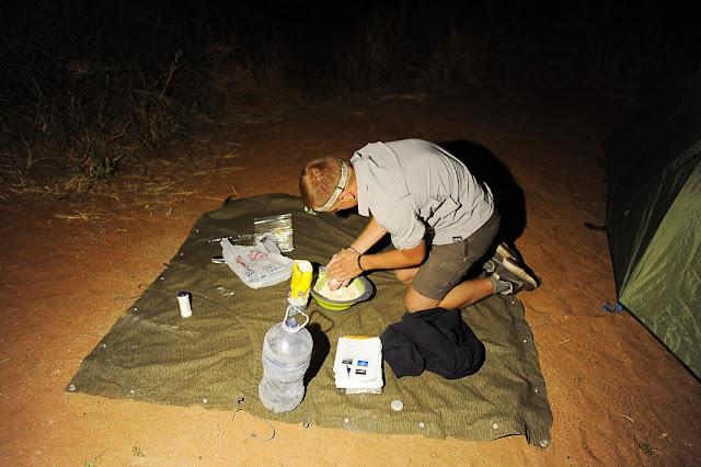 priprava večerje na šotorki, Južna Afrika