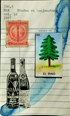 Dada Fluxus mail art library card collage wine bottles mexican lottery card el pino pine tree cuban postage stamp