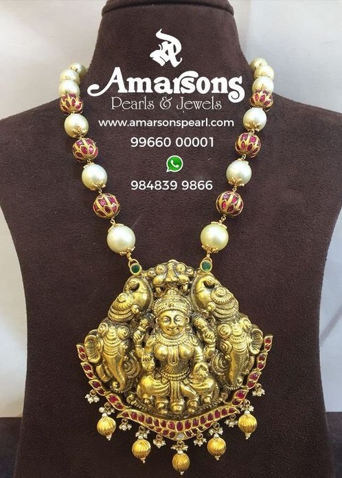 Ruby Studded Beads Set with Lakshmi Locket