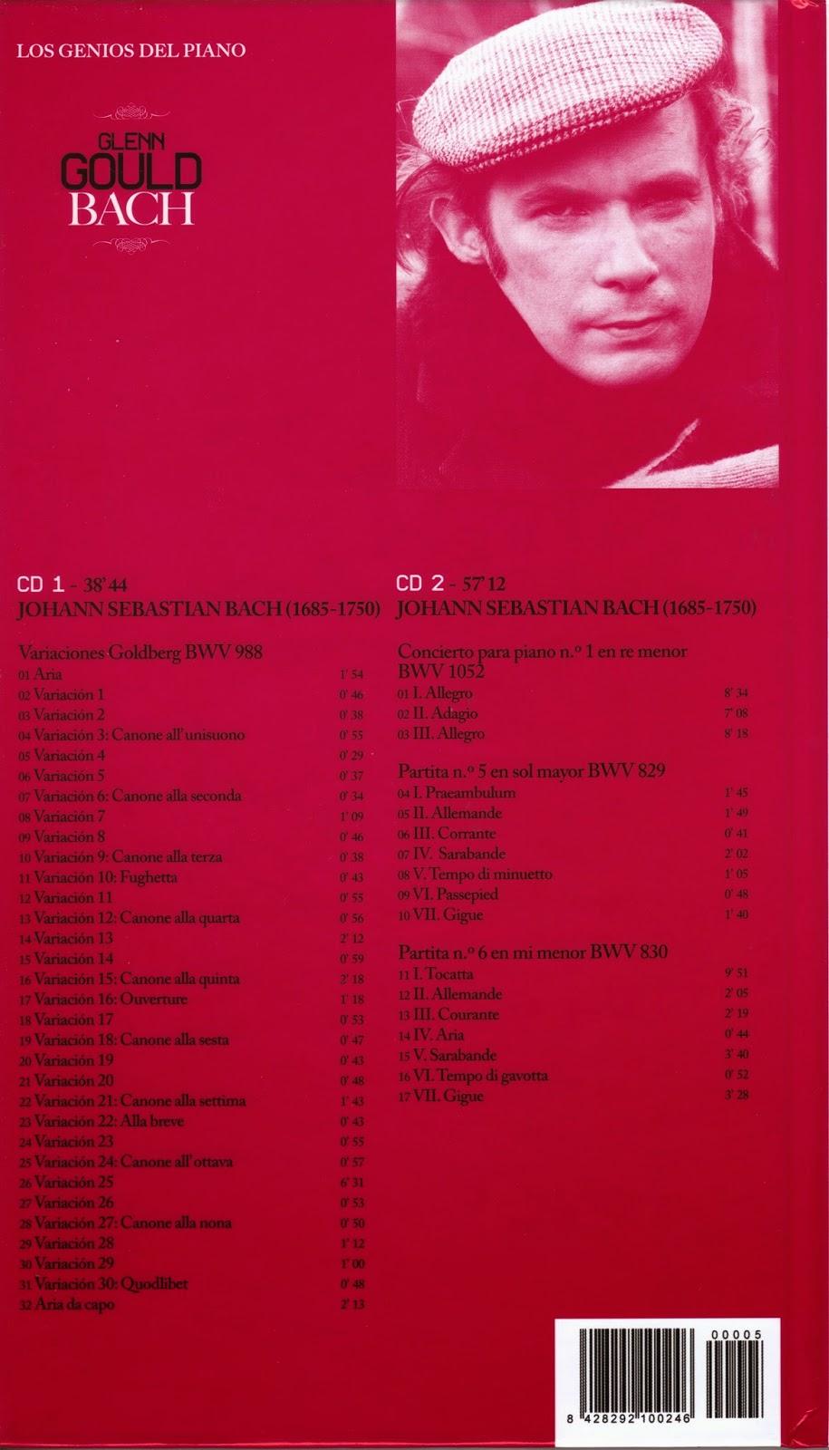 Imagen de Colección Los Genios del Piano-05-Glenn Gould & Bach-trasera