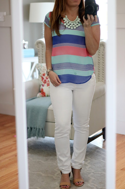 bright colored spring summer top