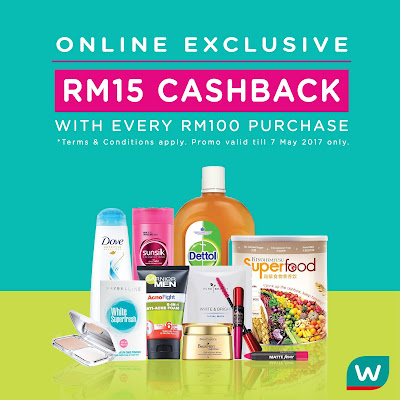 Watsons Malaysia Online Store Exclusive Cashback Promo
