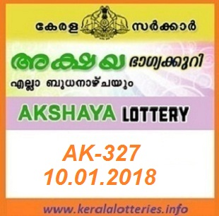 AKSHAYA (AK-327) LOTTERY RESULT ON JANUARY 10, 2018