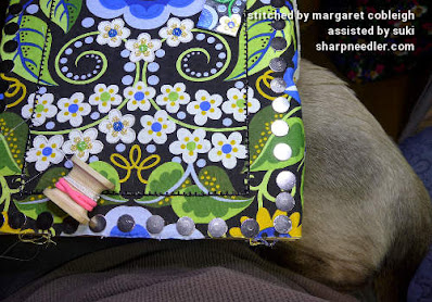 More help from a Siamese kitten. (Wild Child Japanese Bead Embroidery by Mary Alice Sinton)