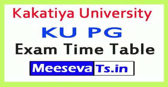 Kakatiya University KU PG Exam Time Table
