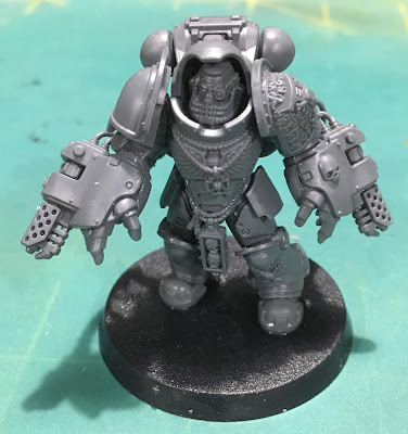 Deathwatch Primaris Aggressors WIP with flamestorm gauntlets front