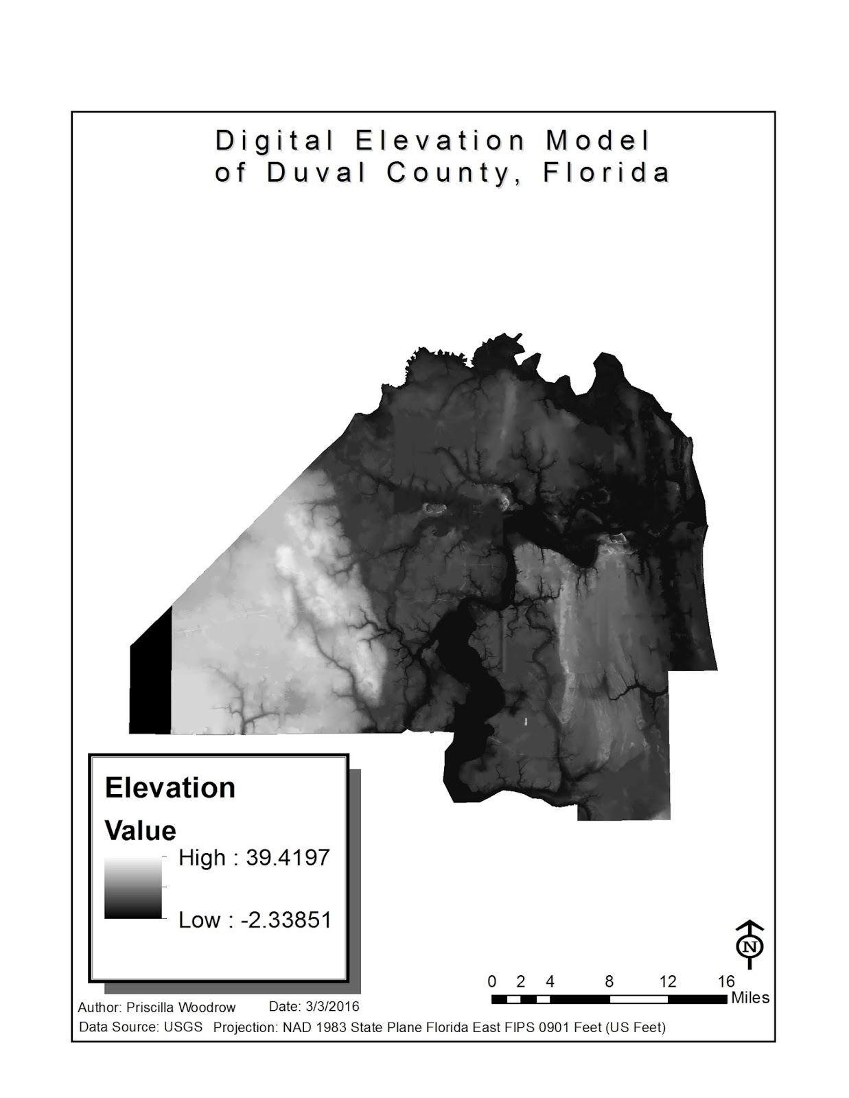 this map shows the elevation of duval county the light quantities represent high elevation and the dark quantities represent low elevation