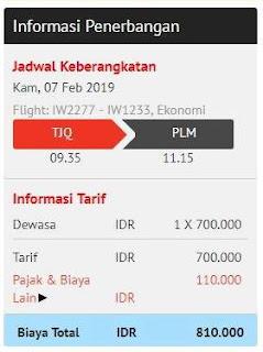 harga total dengan bagasi terdaftar