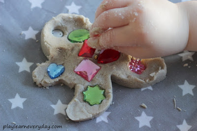 gingerbread play dough decorated with gems
