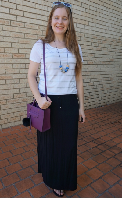 foil stripe tee with black drawstring waist maxi skirt with purple Rebecca Minkoff mini MAB tote bag | away from the blue
