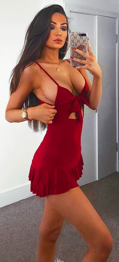 Red slinky tie front ruffle dress   Find sexy valentines day clothes and valentines day fashion. 31+ Cute Valentines Day Outfits for Every Type of Date. Valentine style via higiggle.com #valentine #fashion #outfits #love