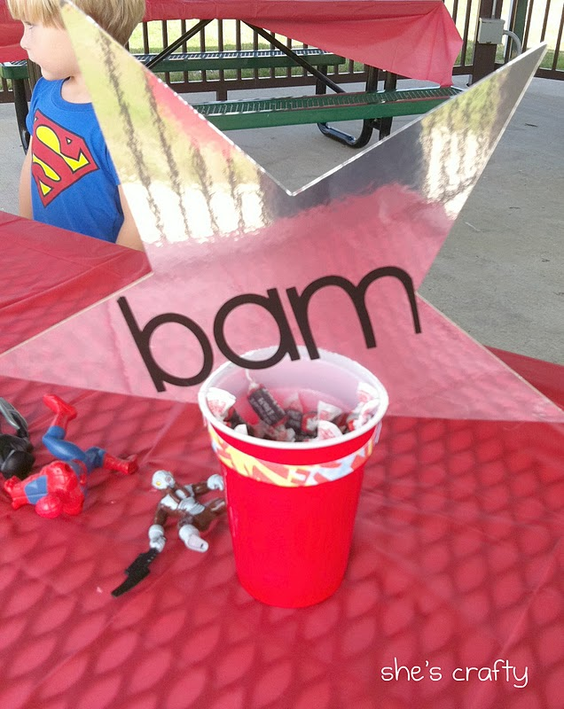 Super Hero Birthday party at the park for little boys - super hero decorations