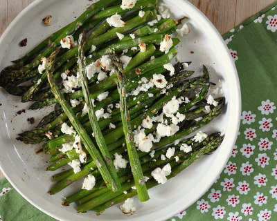 Roasted Asparagus with Feta ♥ AVeggieVenture.com, roasted without oil and topped with warm, melty feta. Low Carb. Weight Watchers Friendly.