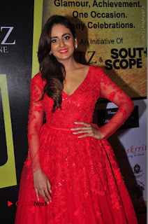 Actress Model Parul Yadav Stills in Red Long Dress at South Scope Lifestyle Awards 2016 Red Carpet  0074.JPG