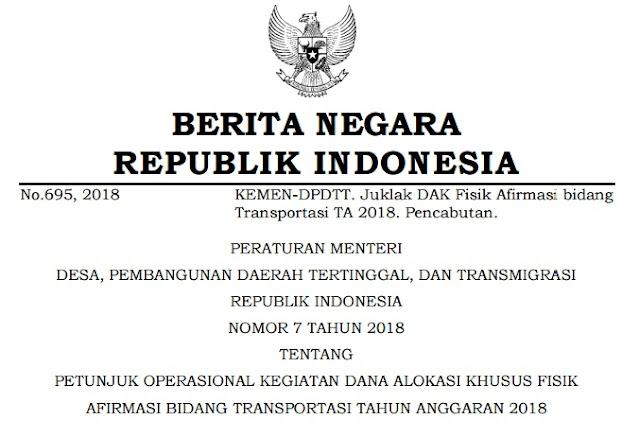 Download Permendesa PDTT Nomor 7 Tahun 2018 Format Pdf