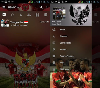 Download BBM MOD Timnas Indonesia v3.2.0.6 APK Versi Terbaru Transparan Theme