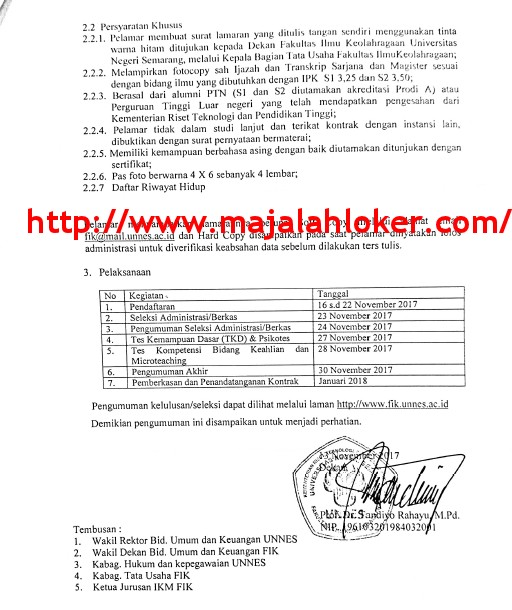 Rekrutmen Dosen Fakultas Ilmu Keolahragaan Universitas Negeri Semarang (UNNES)