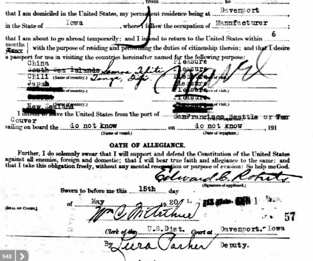 edward c roberts passport application 1920