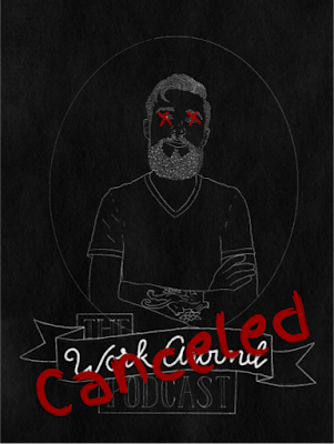 "work around podcast logo with x's over Jon's eyes, and the word ""canceled"" painted over the podcast logo"