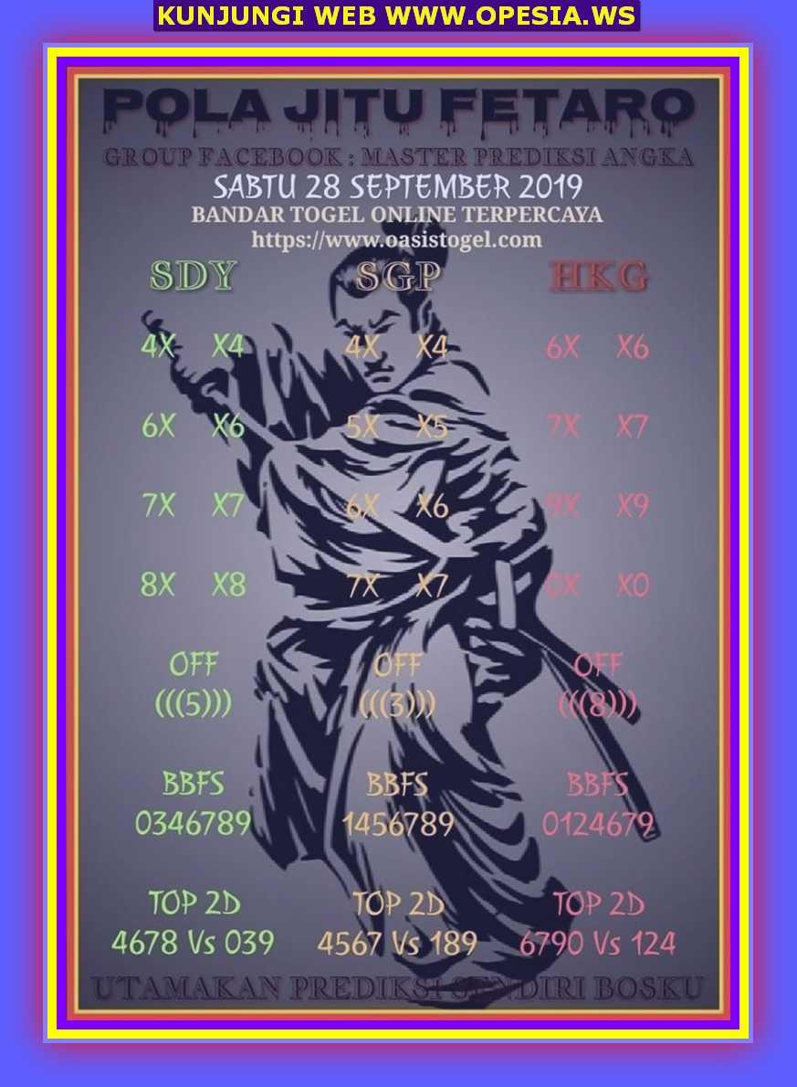 Syair sgp Sabtu 28 September 2019 17