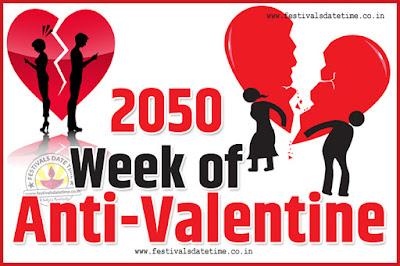 2050 Anti-Valentine Week List, 2050 Slap Day, Kick Day, Breakup Day Date Calendar