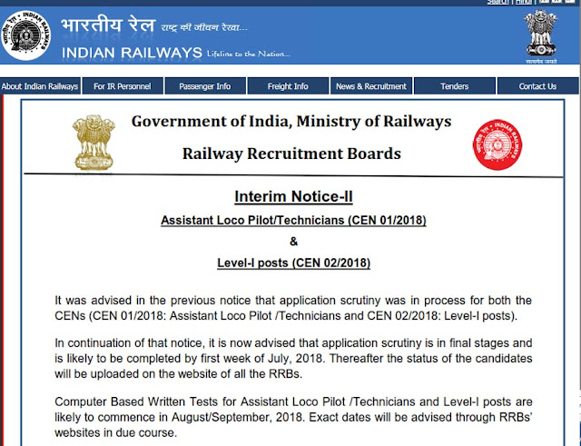 RRB Assistant Loco Pilot / Technicians Exam Notification 2018 indianrailways.gov.in
