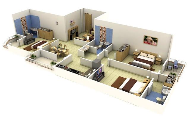 denah rumah ukuran 6x12 mencontoh apartemen