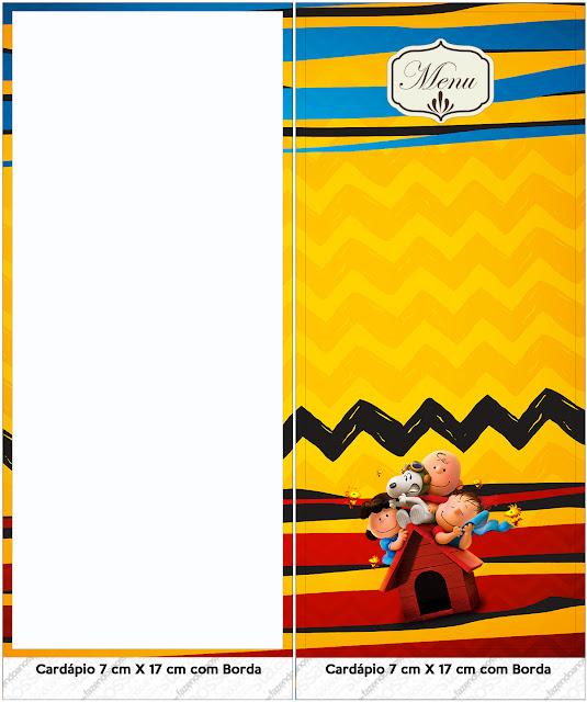 Para programas o menús para Fiesta de Charlie Brown y Snoopy.