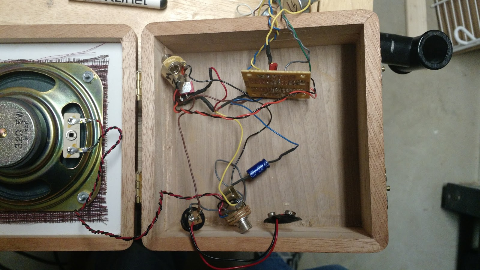 Making A Cigar Box Amp Toy Dad Circuit Board On Vintage So The Next Part Was To Line Up Connecting Nuts And Bolts Drill Those Holes Anchor Speaker That Then Let Me See Exactly How Much