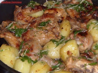 Курица в кефире с картофелем