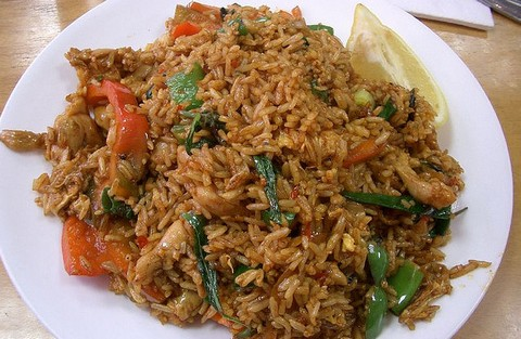 Basil Fried Rice with Bell Peppers and Chicken