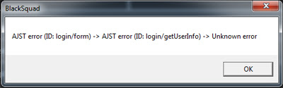 Stuck Login - AJST error (ID: login/form) Unknown error Black Squad Indonesia