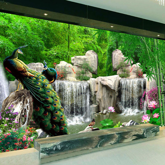 Nature Wall Murals 3D Natural Scenery Wallpaper Landscape Bamboo Forest Falls Peacock
