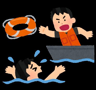 溺れている人に浮き輪を投げる救助員のイラスト