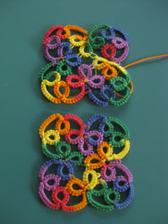 needle tatting rhombic earrings