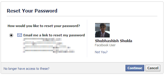 reset your password in facebook