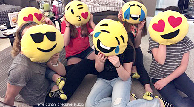 emoji sleepover craft, craft idea for emoji party, emoji craft, emoji pillows