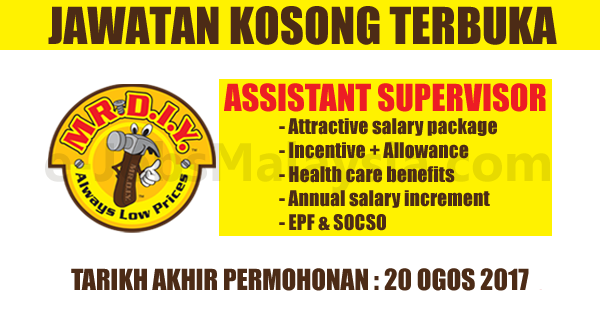 Pengambilan Jawatan Kosong Terbuka Sebagai Assistant Supervisor