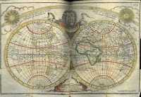 A hand-colored engraving of the entire world, represented as two circles to portray both sides of the globe.