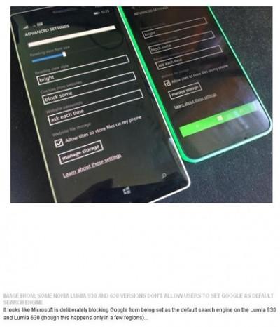 Ponsel Nokia Lumia 930 dan 630 Gagal Masuk ke Mesin Pencari