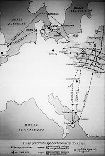 Trasy przerzutu spadochroniarzy do Kraju