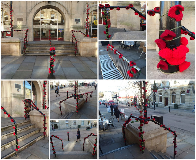 Knit and Natter's poppies out Chippenham Town Hall